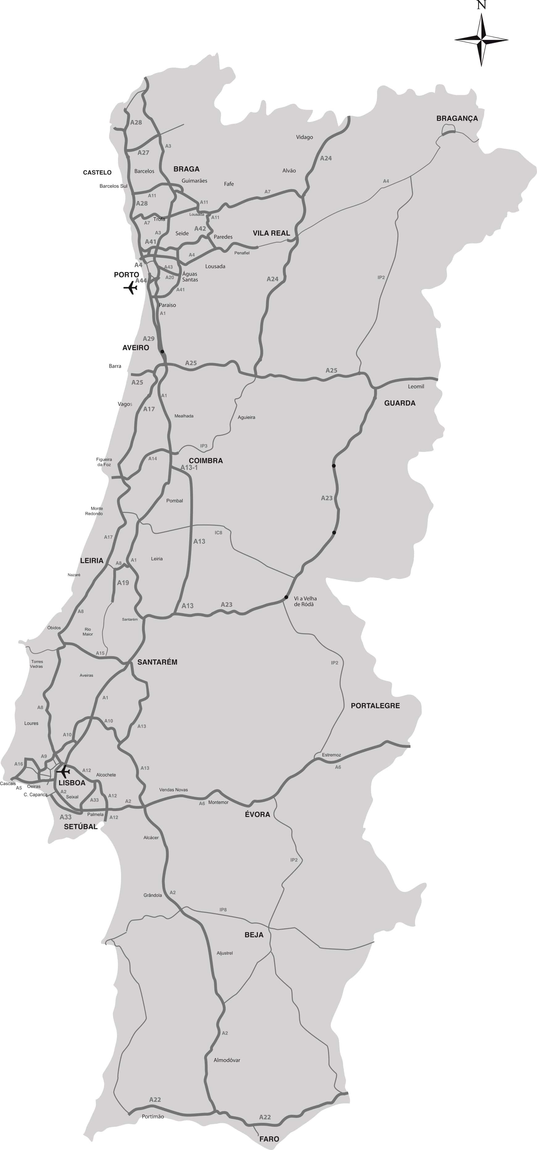 mapa de portugal itenerarios Itinerários Principais – Apontamentos Na Net mapa de portugal itenerarios