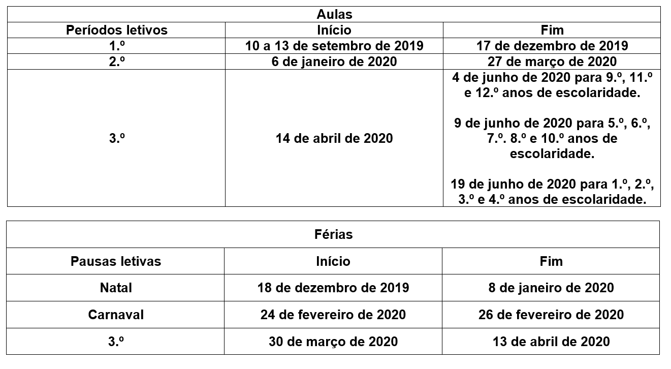 Calendario Dezembro 2019 Png.Noticias Calendario Escolar 2019 2020 Apontamentos Na Net